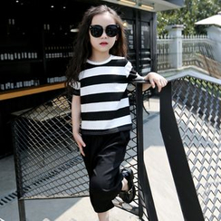 Cuckoo - Kids Set: Stripe Short-Sleeve T-Shirt + Wide Leg Cropped Pants