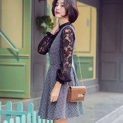 Dimosqisi - High-Waist Houndstooth Silm-Fit A-Line Jumper Dress