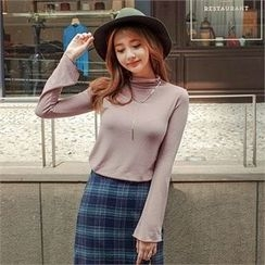 Styleberry - Mock-Neck Long-Sleeve T-Shirt