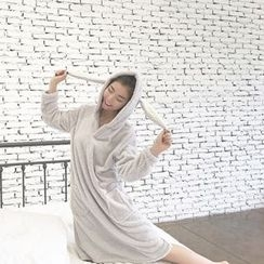 Bloombloom - Rabbit Ear Hooded Long Sleeve Pajama Dress