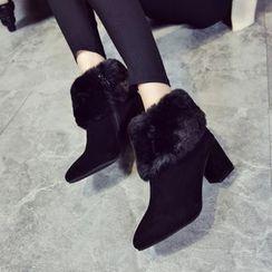 Sunsteps - Block Heel Furry Short Boots
