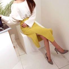 DABAGIRL - Slit-Hem Wool Blend Midi Skirt