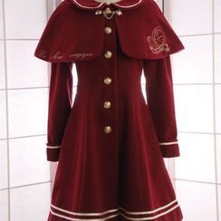 Reine - Set: Embroidered Coatdress + Peter Pan Collar Capelet