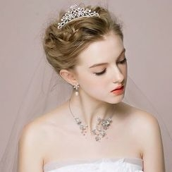 Miss Diva - Set: Rhinestone Hair Comb + Necklace + Earrings