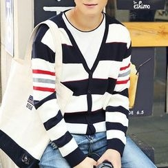 HANDA - Stripe V-neck Cardigan