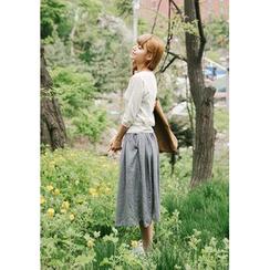 GOROKE - Gathered- Waist Linen Blend Midi Skirt