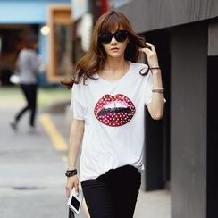 REDOPIN - Sequined Lip Print T-Shirt
