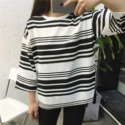 Cloud Nine - Stripe 3/4-Sleeve Top