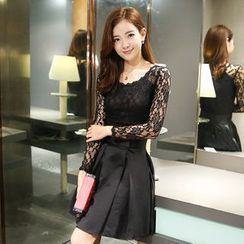 Lovebirds - Long-Sleeve Lace Panel A-Line Dress