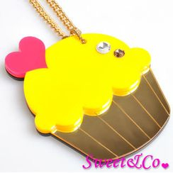 Sweet & Co. - Sweet&Co. XL Mirror Yellow Cupcake Gold Necklace