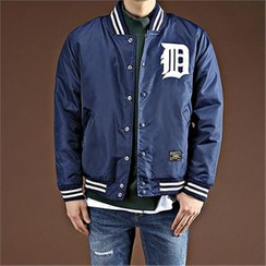 THE COVER - Contrast-Trim Lettering Baseball Jacket