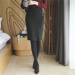 ode' - Slit-Front Pencil Skirt with Brooch