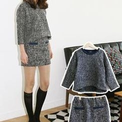 Bammini - Set: 3/4-Sleeve Tweed Top + Tweed Miniskirt