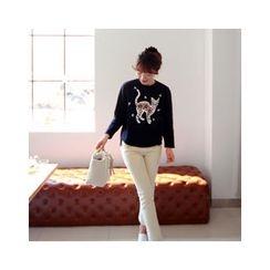 LEELIN - Sequined Embellished T-Shirt