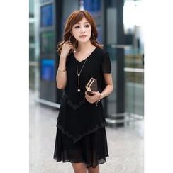 HOTCAKE - Short-Sleeve Chiffon Tiered Dress