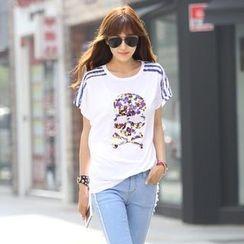 REDOPIN - Lace-Trim Print T-Shirt