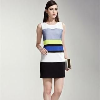 Moonbasa - Striped Sleeveless Dress