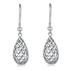 MaBelle - 14K White Gold Diamond Cut Puff Filigree Pear Shape Teardrop Fishhook Drop Earrings