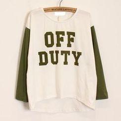Momewear - Contrast Long-Sleeve Lettering T-Shirt