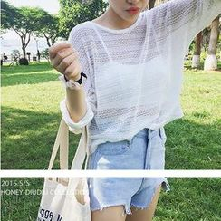 MATO - Open-Knit Cropped Top