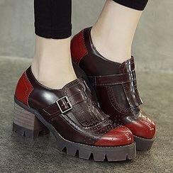 Mancienne - Fringe Buckled Heel Loafers