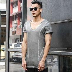 Mannmix - V領拼接短袖T恤