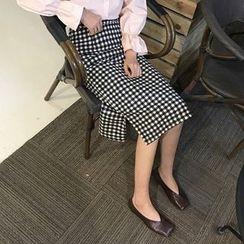 Cloud Nine - Gingham A-line Skirt