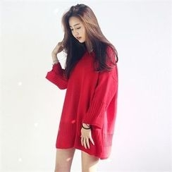 JVLLY - V-Neck Knit Mini Dress
