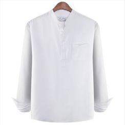 WIZIKOREA - Mandarin-Collar Half-Placket Shirt