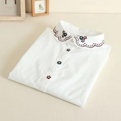 Mushi - Embroidered Peter Pan Collar Blouse