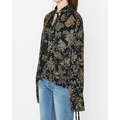 Someday, if - Tie-Detail Floral Pattern Top