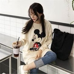 QNIGIRLS - Mickey Mouse Print Long T-Shirt