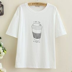 Angel Love - Coffee Print Short-Sleeve T-Shirt