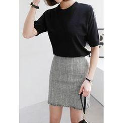 Miamasvin - Round-Neck Short-Sleeve Knit Top