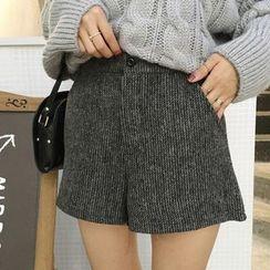 Anlay - High-Waist Loose-Fit Woolen Shorts
