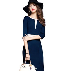 Saranghae - 3/4-Sleeve Color Block Sheath Dress
