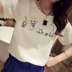 Ashlee - Cat Print Short Sleeve T-Shirt