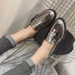 Sofree - Faux Patent Leather Chunky Heel Loafers