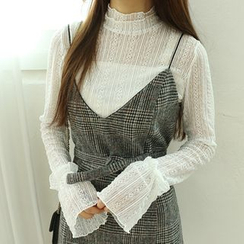 Dodostyle - Mock-Neck Sheer-Panel Lace Top