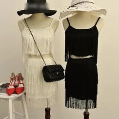 MISS LUCY - Set: Fringed Sleeveless Top + Fringed Pencil Skirt