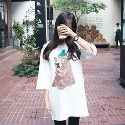 Envy Look - 3/4-Sleeve Bear Print Long T-Shirt