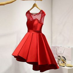 Royal Style - Sleeveless Tie Waist Pleated Cocktail Dress