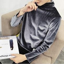 ZONZO - Embroidered Turtleneck Long Sleeve Velvet T-Shirt