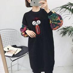 Eva Fashion - Fleece Long-Sleeve Panel Dress