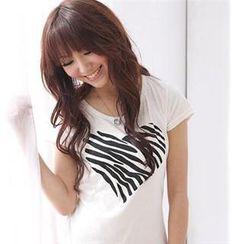 RingBear - 爱心斑马纹素色圆领短 T 恤
