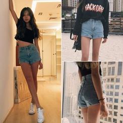 MePanda - Cuffed Denim Shorts
