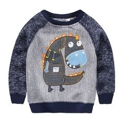 lalalove - Kids Cartoon Applique Raglan Pullover