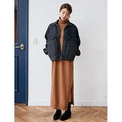 FROMBEGINNING - Turtle-Neck Wool Blend Knit Maxi Dress