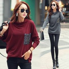 Sienne - Sequined Pocket Long Sleeve T-Shirt