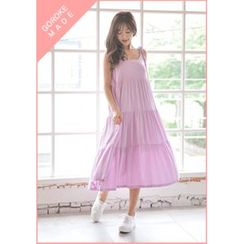 GOROKE - Spaghetti-Strap Tiered Long Sundress
